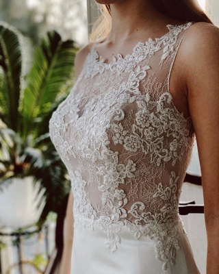 Simple wedding dress satin | Wedding dresses a line lace_5