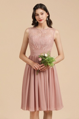 Bridesmaid Dresses Short Dusty Pink | Chiffon dresses with lace