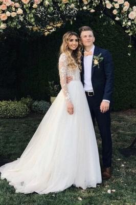Wundershcöne Hochzeitskleider mit Ärmel | Chiffon Brautkleid A Linie_1
