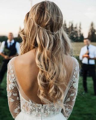 Wundershcöne Hochzeitskleider mit Ärmel | Chiffon Brautkleid A Linie_4
