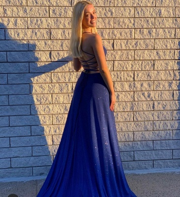 Prom dresses dark blue | Evening dresses long glitter_2