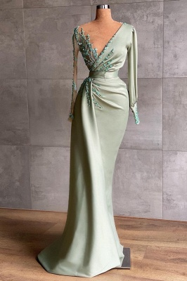 Prom dresses long mint green | Evening dresses with sleeves