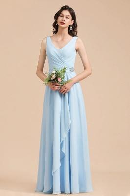 Schöne Brautjungfernkleider Lang Blau | Chiffon Kleider Für Brautjungfern_4