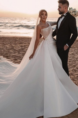 Beautiful wedding dresses A line | Wedding dresses glitter with sleeves
