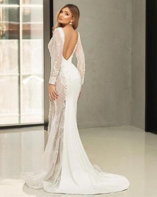 Beautiful wedding dresses mermaid lace | Wedding dresses with sleeves_2