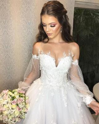 Designer Hochzeitskleid A Linie Spitze | Brautkleider mit Ärmel_4
