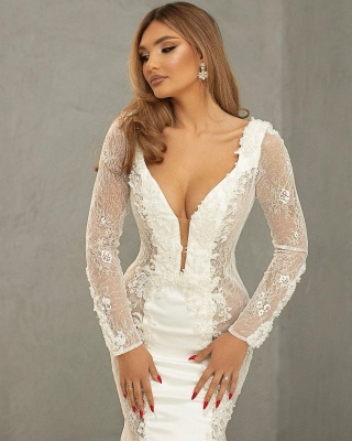 Beautiful wedding dresses mermaid lace | Wedding dresses with sleeves_3