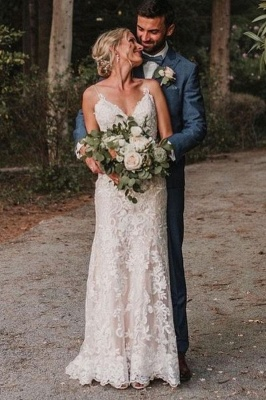 Simple mermaid wedding dress | Wedding dresses with lace