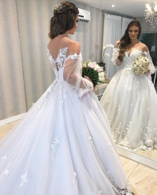 Designer wedding dress A line lace | Wedding dresses with sleeves_7