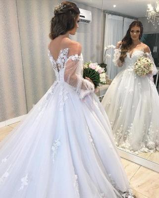 Designer Hochzeitskleid A Linie Spitze | Brautkleider mit Ärmel_7