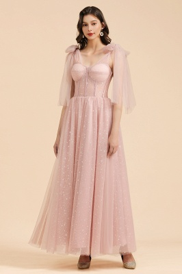Beautiful bridesmaid dresses long pink with sleeves