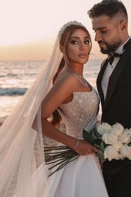 Schöne Brautkleider A Linie | Hochzeitskleider Glitzer Mit Ärmel_10