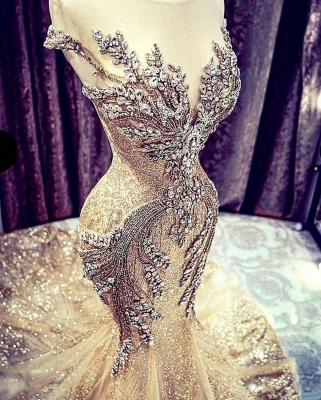Extravagant evening dresses gold | Long glitter prom dresses_5