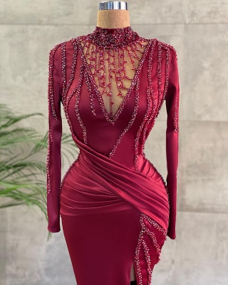 Luxury Evening Dresses Long Wine Red | Prom dresses with sleeves_2