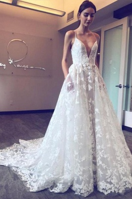 Beautiful wedding dresses with lace | A line wedding dress cheap