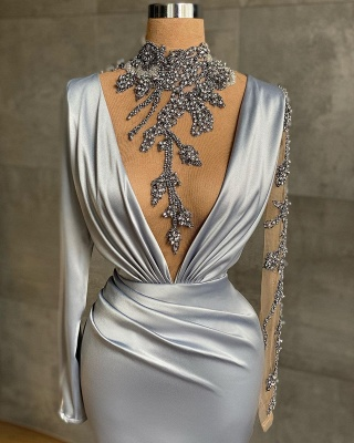 Silver Prom Dresses Long Cheap | Evening dresses with sleeves_2