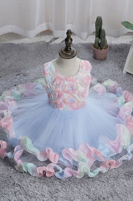 Schicke Blumenmädchenkleider Blau | Kinder Hochzeitskleider Günstig_5