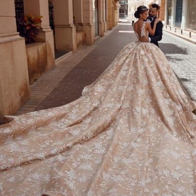Extravagante Brautkleider Prinzessin | Spitze Hochzeitskleider Glitzer_3