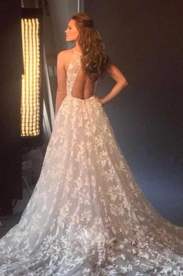 Beautiful wedding dresses with lace | A line wedding dress cheap_2
