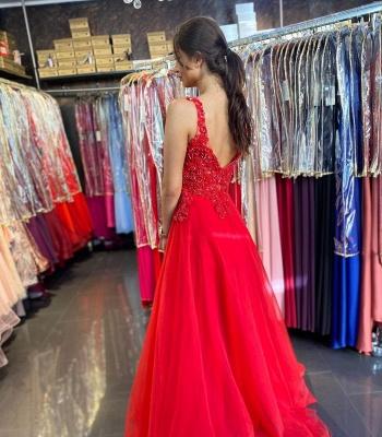 Evening dresses long V neckline | Red prom dresses cheap_2