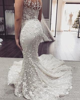 Schöne Hochzeitskleider Meerjungfrau Spitze | Brautkleid Cream_2
