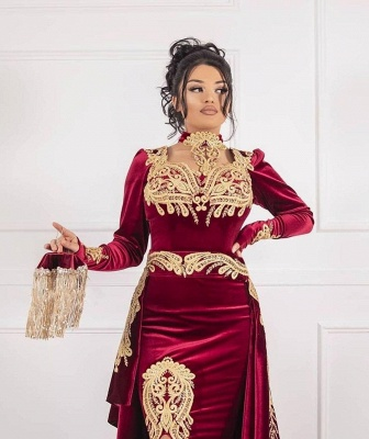 Weinrot Abendkleider Velvet | Abendkleid Lang Günstig Online_3