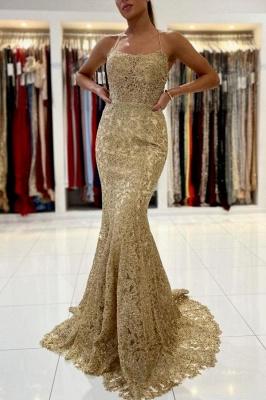 Gold Abendkleider Lang Spitze | Abiballkleider Günstig Kaufen_1