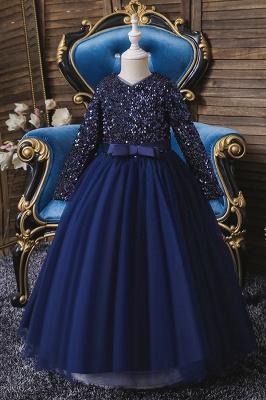 Weinrot Blumenmädchenkleider mit Ärmel | Kleider für Blumenmädchen_2