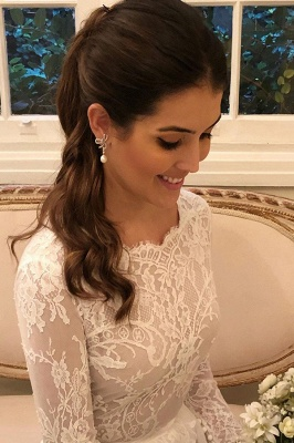 Gorgeous Wedding Dresses A Line | Lace wedding dresses with sleeves_2