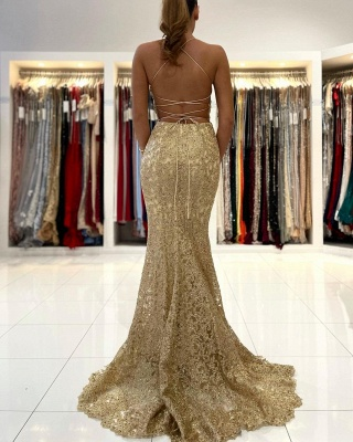 Gold Abendkleider Lang Spitze | Abiballkleider Günstig Kaufen_2