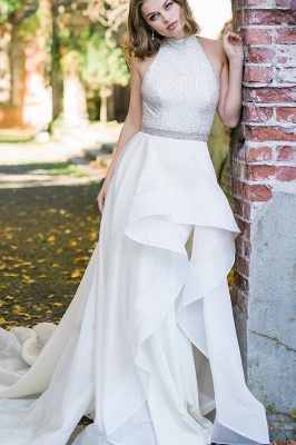 Satin wedding dress A Line | Simple wedding dress online_1