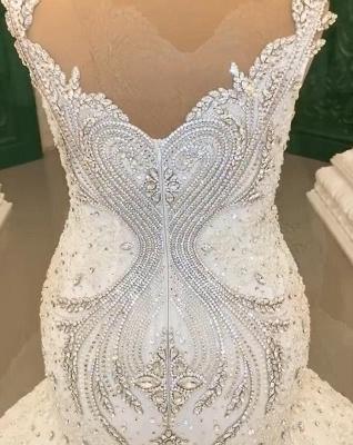 Luxury Weiße Hochzeitskleider Meerjungfrau Spitze Brautkleider Online_5