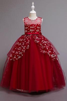 Weinrot Blumenmädchenkleider Günstig | Kinder Hochzeitskleider_2