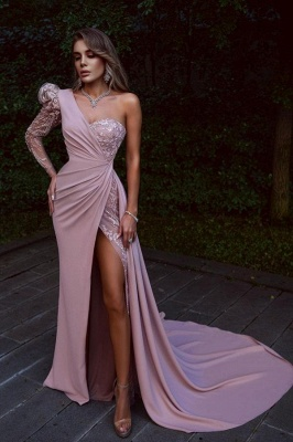 Elegant evening dresses long pink | Prom dresses with lace_1