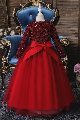 Weinrot Blumenmädchenkleider mit Ärmel | Kleider für Blumenmädchen_7
