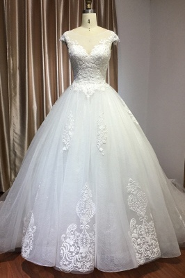 Simple wedding dress A line | Wedding dresses with lace_1