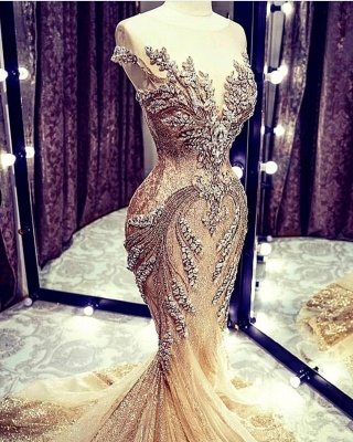 Extravagant evening dresses gold | Long glitter prom dresses_4