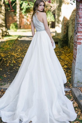 Satin wedding dress A Line | Simple wedding dress online_2