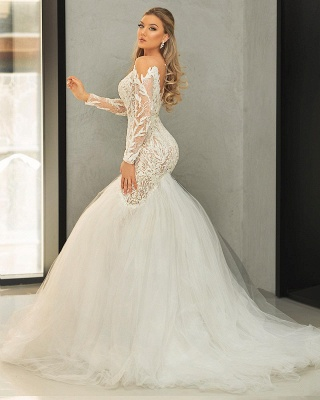 Mermaid wedding dress with lace | Tulle wedding dresses with sleeves_2