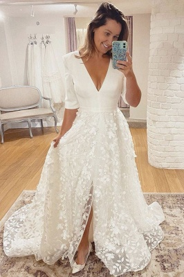 Wedding Dresses V Neck With Sleeves | Wedding dresses A line lace_3