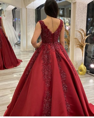 Wedding dresses A line burgundy | Wedding dresses with lace_2