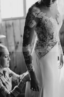 Gorgeous wedding dresses with sleeves | Wedding dresses A line lace_5