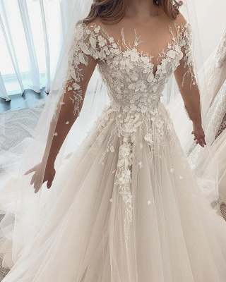 Designer Wedding Dresses A Line Lace | Wedding dresses with sleeves_2