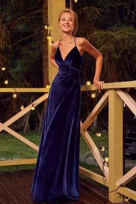 Velvet Evening Dresses Long Cheap | Prom dresses king blue_1