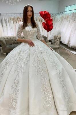 Prinzessin Hochzeitskleider mit Ärmel | Satin Brautkleider Glitzer_1
