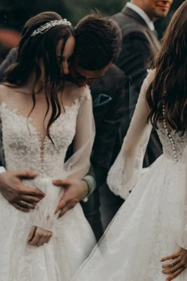 Designer Wedding Dresses A Line Lace | Wedding dresses with sleeves_1