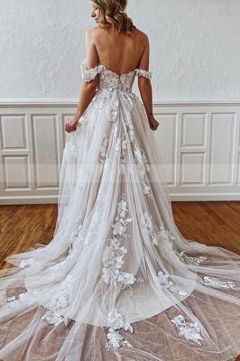 Schlichtes Brautkleid A Linie Spitze | Hochzeitskleider Günstig Online_2
