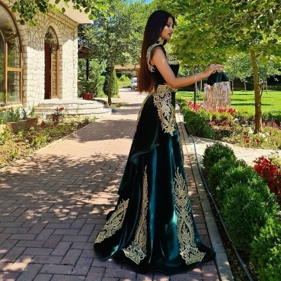 Evening dresses long green | Evening wear prom dress with lace_2