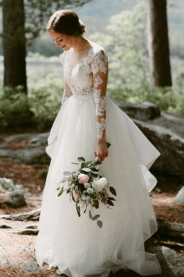 Gorgeous wedding dresses with sleeves | Wedding dresses A line lace_1