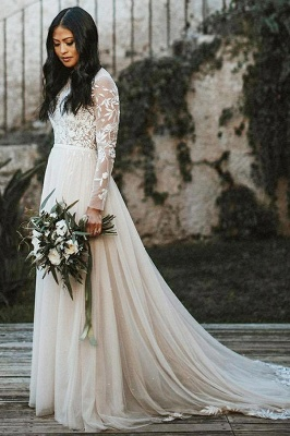 Beautiful wedding dresses with sleeves | A line lace wedding dress_1